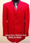 SKU# KEI362 Deep Red 3 Buttons Men's Dress Fashion Suit $139