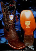 SKU#NK7825 Wild West Genuine Crocodile ~ Alligator Belly Square Brown Rodeo Western Cowboy Boot