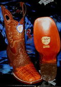 SKU#RT8344 Wild West Genuine Crocodile ~ Alligator Belly Square Cognac Rodeo Western Cowboy Boot
