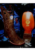 SKU#RU9093 Wild West Genuine Python ~ Snake Square Brown Rodeo Western Cowboy Boot