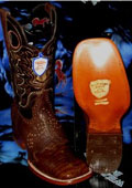 SKU#TG7298 Wild West Genuine Crocodile ~ Alligator Belly Square Brown Rodeo Western Cowboy Boot