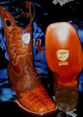 SKU#KP7839 Wild West Genuine Crocodile ~ Alligator Belly Square Cognac Rodeo Western Cowboy Boot