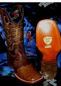 SKU#RQ6399 Wild West Genuine Ostrich Square Brown Rodeo Western Cowboy Boot