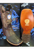 SKU#KX4537 Wild West Square Brown Genuine Shark Rodeo Western Cowboy Boot