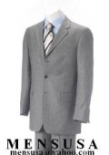 Double Vent Clowdy Light Gray Super 140's Wool 3 Buttons Men's Suits