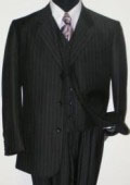 Cheaper Version Quality Classic 3 Button 3 Button Black Stripe ~ Pinstripe three piece suit 100% Rayon $159