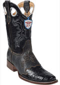 SKU#VN9345 Wild West Black Caimen Belly Wild Rodeo Toe Boots