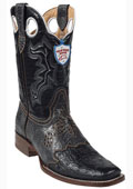 SKU#HW5646 Wild West Black Ostrich Wild Rodeo Toe Boots