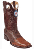 SKU#SP8478 Wild West Cognac Ostrich Wild Rodeo Toe Boots