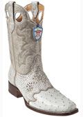 SKU#NU7809 Wild West White Ostrich Wild Rodeo Toe Boots