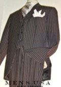Liquid Black Pinstripe Vested three piece suit Super 120's 100% Wool Feel Extra Fine Poly~Rayon $149