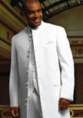 Matrix Style White 45 Icnh Full Length Mandarin Collar 10 Button  $599