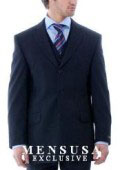 SKU HFD973 Simple  Classy Stunning Navy Blue 3 Pieces Vested Mens Suits in Super 150s Wool 159
