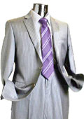Mens 2 Button 100% Wool Suit Light Grey $249