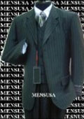 Luxurious #MU3B Black & Smoth Conservative Pinstripe 3 Pieces Vested Business Suits Double Side Vent $179