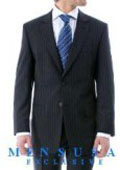 Luxurious High Quality Navy Blue Pinstripe Light Weight Double Vented Ultra Smooth Fabric $159