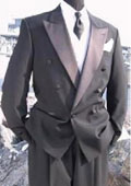 Mens Double Breasted Tuxedo Suit(Jacket & Pants) wool fabric in Charcoal Grey Delivery 10 Days $595