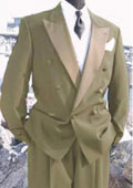SKU#EK285 Mens Double Breasted Tuxedo Suit (Jacket & Pants) wool fabric in Beige ~ Tan Delivery 10 Days $595