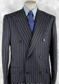 SKU KAF378 Luxurious Real 100 Italian Made Navy Blue Pinstripe Suit Super 120s Wool 195