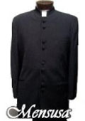 Mandarin Collar BANNED Collar Black Suit 8 BUTTON EXTRA FINE HAND MADE Discount Sale Designer Super Light Weight $120