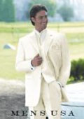 SKU# T62T Vittori Collection Cream/Ivory/OFF White 3 Piece 2 Button Men Vested Light Weight Fine Soft Wedding Suit