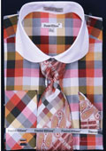 SKU#KT473 Men's French Cuff Dress Shirt Set Checker Pattern Orange $65