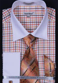 SKU#WT497 Men's French Cuff Dress Shirt Set Small Checker Orange $65