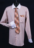 SKU#ET567 Men's French Cuff Dress Shirt Set Small Checker Orange Full $65