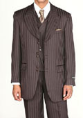 Men's 3 piece Fashion Tone on Tone Stripe Suits w/Vest Brown $139