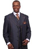 SKU#GT27 Mens 3 Piece 37Inch Length Denim Suit with Wide Lapels Blue