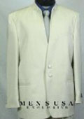2 Button Front Ivory~Off White Mandarin No Collar Nehru Style Banded Collar $149