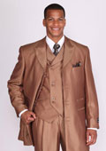 Mens 3 Piece 3 Button Stripe Suit with Lapel Vest Brown $139