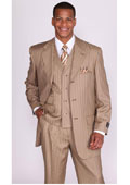 Tan Stripe Lapel Vested
