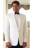 SKU#RL-3578 Mens One Button 100% Tropical Weight Polyester White Dinner Jacket