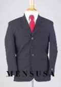 SKU BMU3 Boys Solid Navy Blue Suits 3 Buttons Worsted Light Weight Wool Suit 79