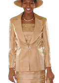 New Lynda's Classic Gold Church 3 Piece Dress Set