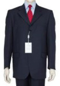 SKU Z165BL Classic Navy Blue 3 Button Business Suit wDouble Vent Jacket Super 140s Wool 165