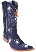 SKU#KA2001 Handmade Fabric Classic Los Altos Men Cowboy Fashion Western Boots Denim Black