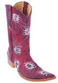 SKU#KA0147 Denim Burgundy ~ Maroon ~ Wine Color Handmade Los Altos Fabric Men Cowboy Fashion Western Style Boots