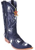 SKU#KA2850 Handmade Fabric Classic Los Altos Men Cowboy Fashion Western Boots Denim Black