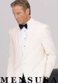 1 Button Shawl Lapel Dinner Jackets - Ivory (Cream ~ Ivory ~ Off White)100% Tropical Wool $185