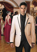 SKU#GQ-29 Two Button Stage Party Tuxedo or Formal Suit & Blazer with Black Edge Trim Ivory 7 days delivery