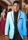 Two Button Stage Party Tuxedo or Formal Suit & Blazer with Black Edge Trim Light Blue ~ Sky Blue $385