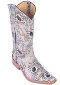SKU#KA8955 Oryx Beige Denim Fabric Men Los Altos COWBOY Fashion Western Boots Riding Classy