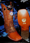 SKU#V-48F Wild West Genuine Ostrich Square Cognac Rodeo Western Cowboy Boot