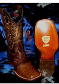 SKU#J-48T Wild West Genuine Ostrich Square Brown Rodeo Western Cowboy Boot