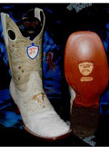 SKU#H-62K Wild West Genuine Ostrich Square White Rodeo Western Cowboy Boot