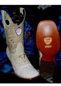 SKU#F-49Q Wild West Genuine Ostrich Square White Rodeo Western Cowboy Boot
