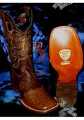 SKU#N-52Wild West Genuine Ostrich Square Brown Rodeo Western Cowboy Boot