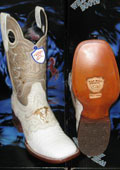 SKU#A-93G Wild West Genuine Crocodile ~ Alligator Belly Square White Rodeo Western Cowboy Boot